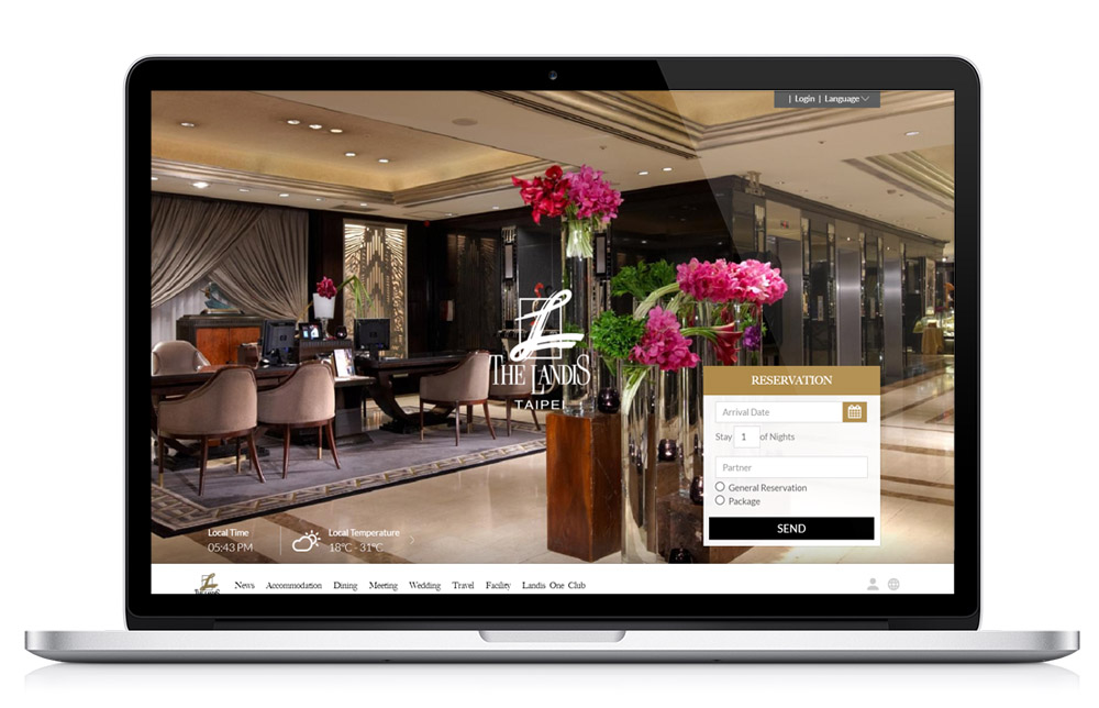 Laptop mockup of the Landis Hotels & Resorts homepage