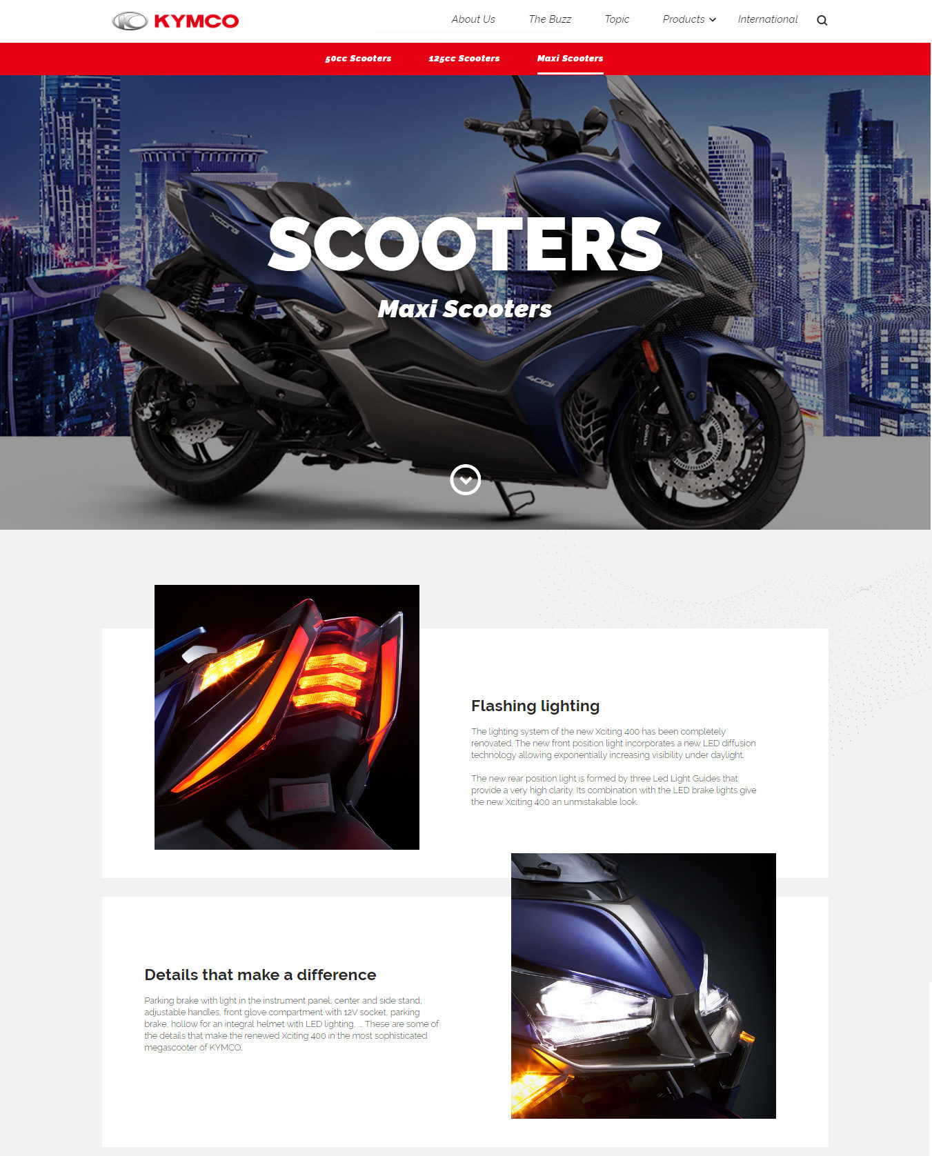 Kymco scooters page