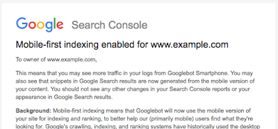 Google Search Console mobile-first indexing recommendations