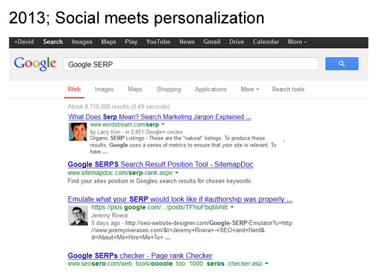 2013 design of the Google serp when searching for Google SERP