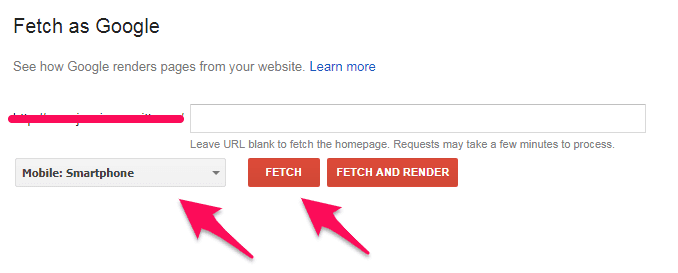 Google analytics option Fetch as Google