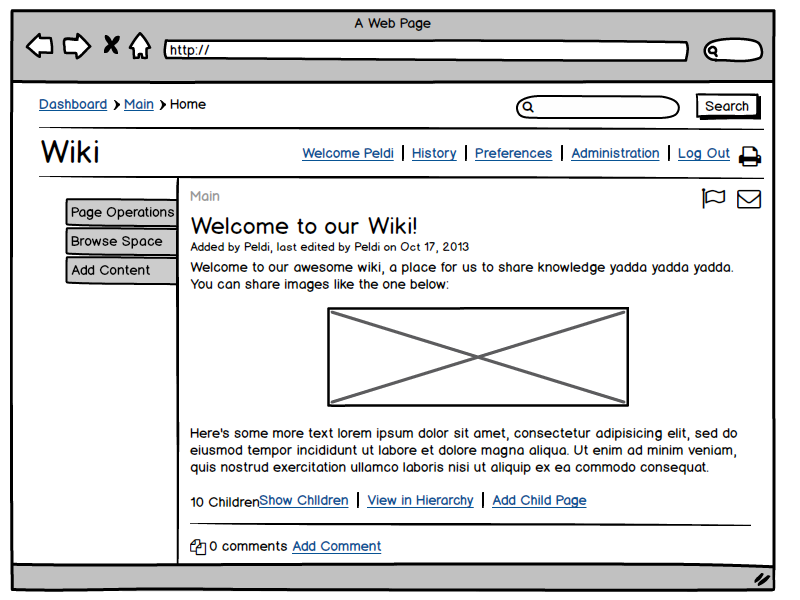 Basalmiq wireframe of Wikipedia